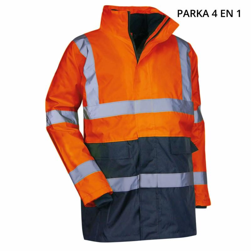 parka haute visibilité 4 en 1 orange LMA PREVENTION