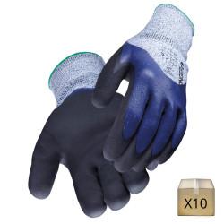 x10 Gants anti coupure PEHD indice 5 GRIPCUT