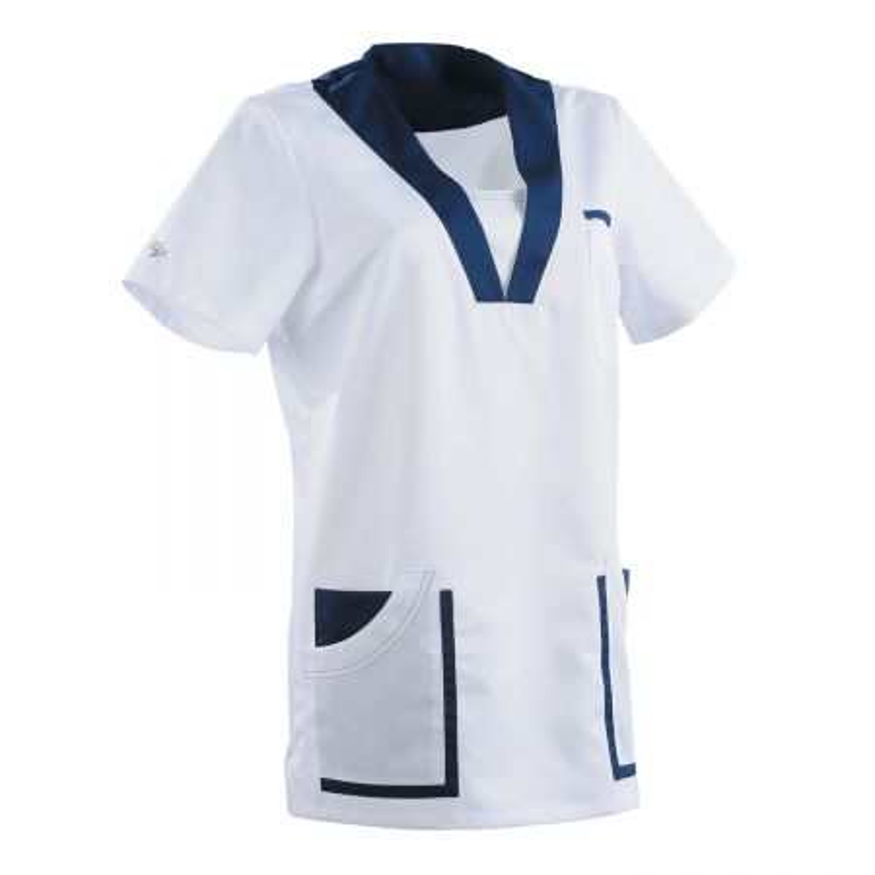 blouse medicale femme clemix blanc bleu marine