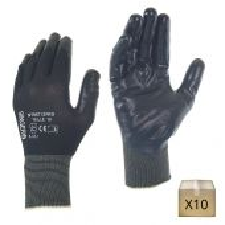 x10 Gants de travail noirs en polyamide