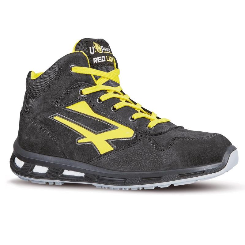 Chaussures de sécurité hautes noires et jaune upower redlion S3 SRC SHOT