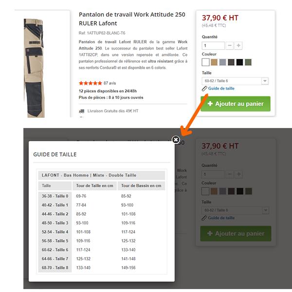 Exemple guide de taille fiche produit